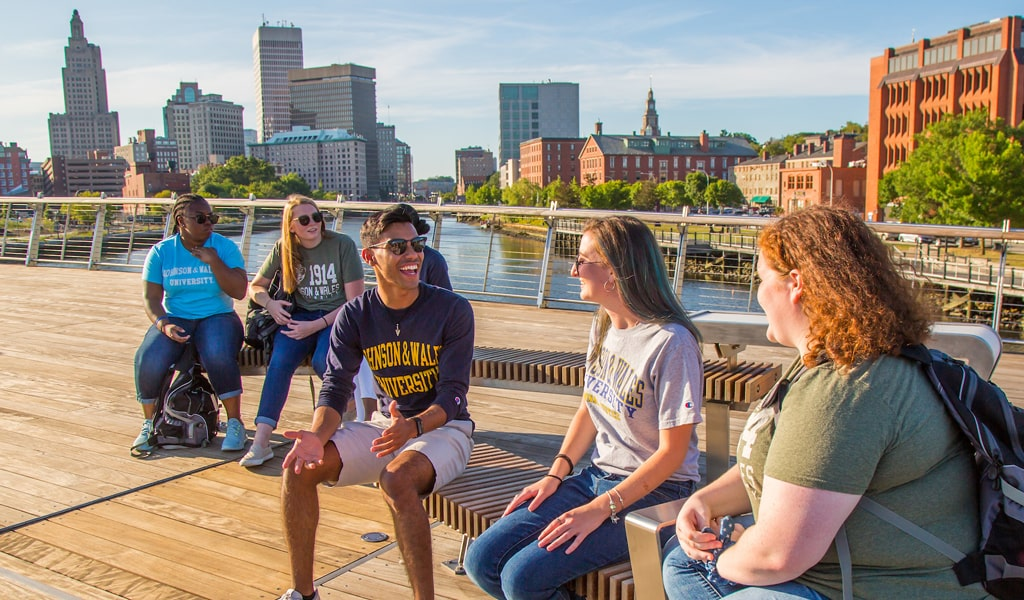 Students explore downtown Providence's newest feature, the Providence River Pedestrian Bridge.