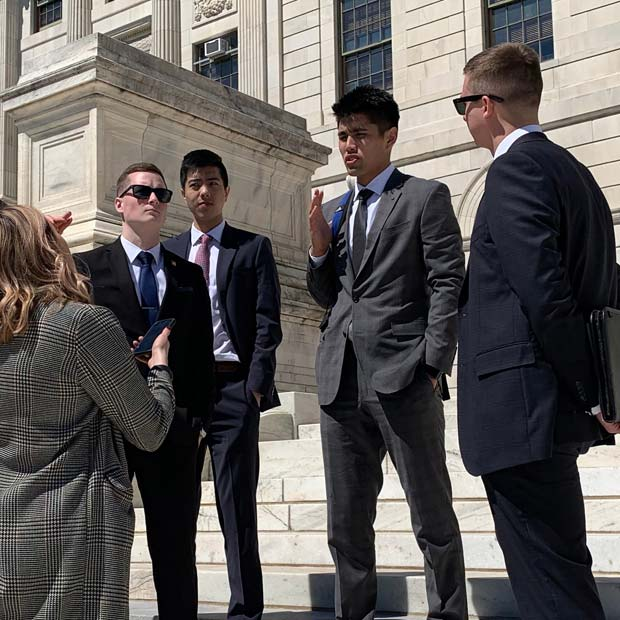 Undergraduate finance students visit the Rhode Island state capitol