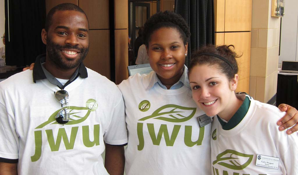 Students smiling at JWU Charlotte event
