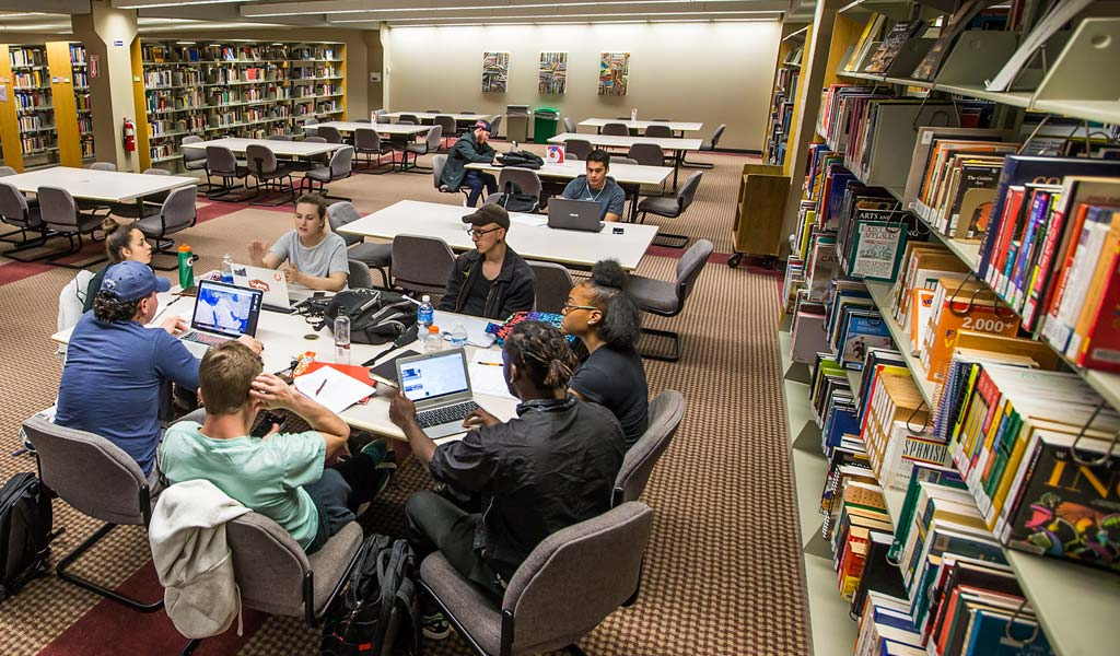 Students in JWU's Denver library