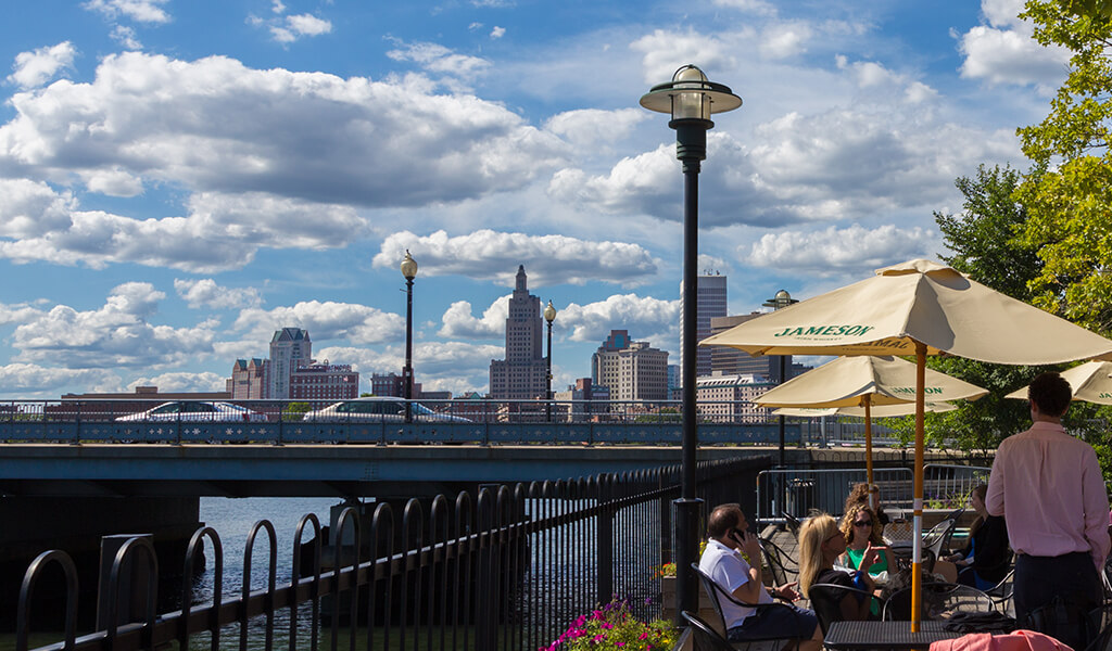 Providence outdoor dining and city skyline