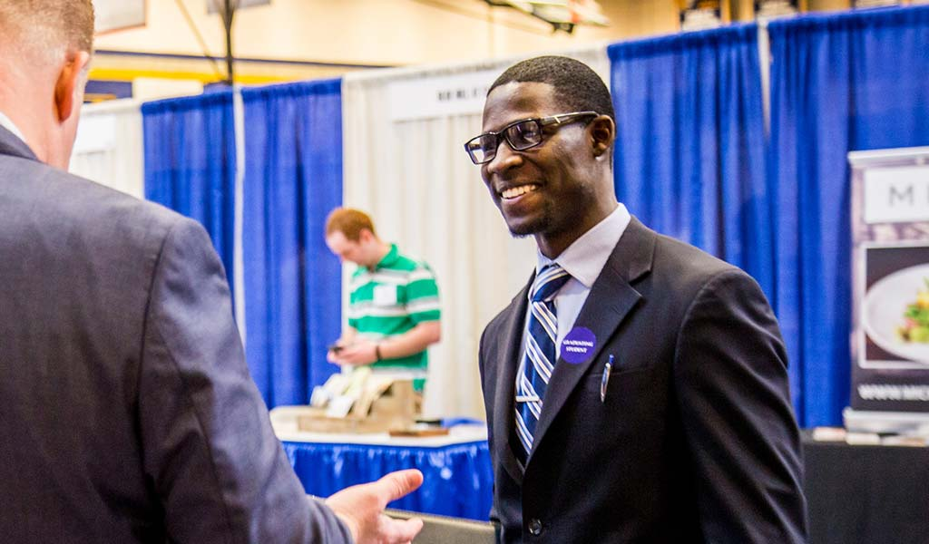 JWU student attending a career fair