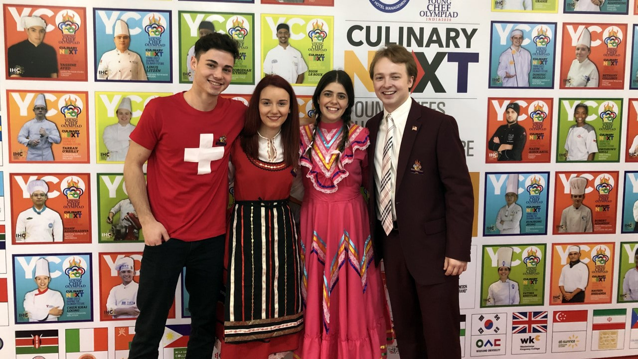 Mihail (Switzerland), Bobby (Bulgaria), Fatima (Mexico) and Sam Farley (USA) at the Young Chef Olympiad