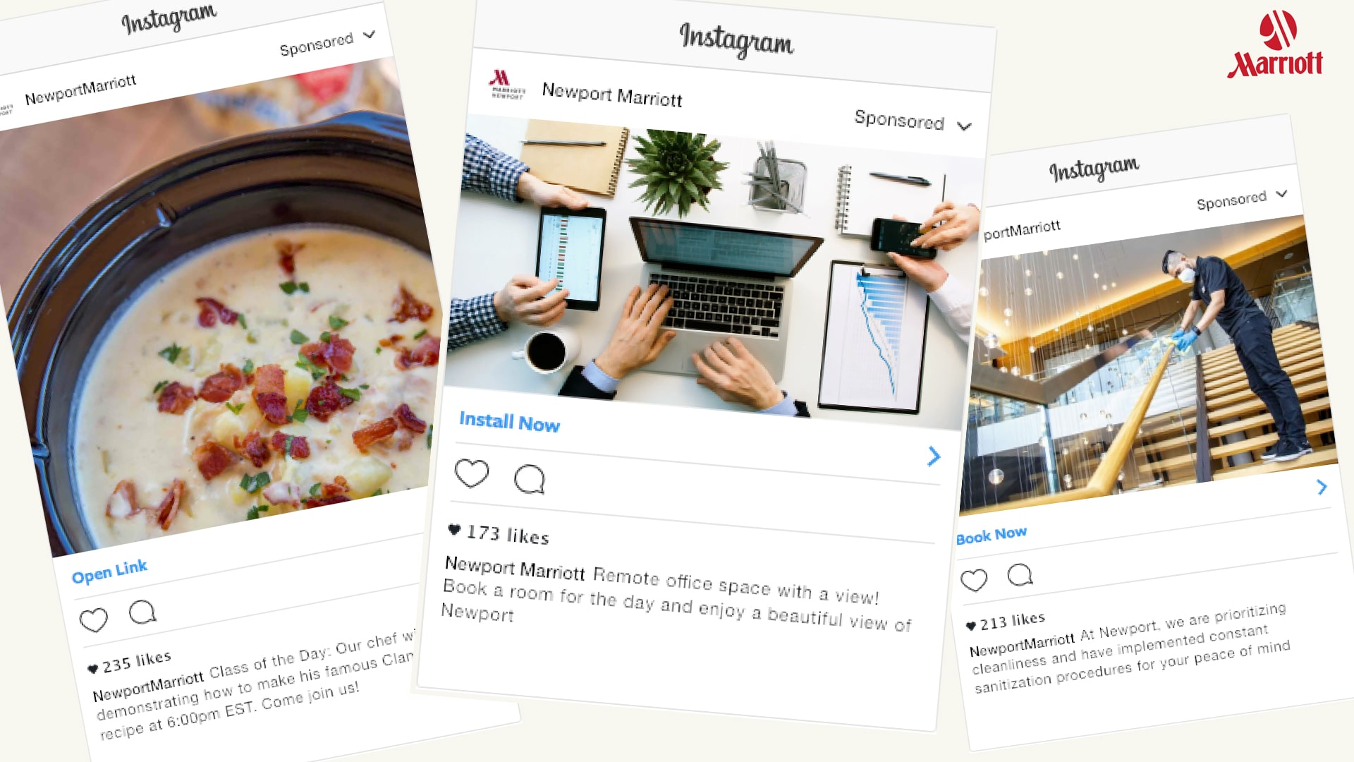 JWU students mocked up Instagram posts as part of their consulting work with the Newport Marriott.